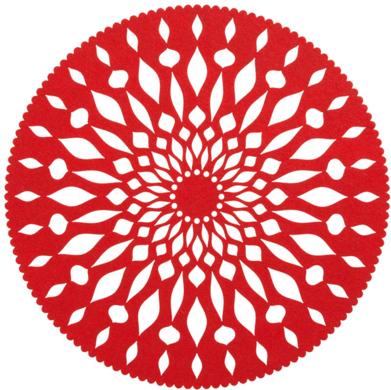 Nordic-inspired graphic gives a modern edge to the classic doily, laser-cut in soft red felt from recycled materials. Festive round placemat also doubles as a charger.<br /><br /><NEWTAG/><ul><li>100% recycled polyester</li><li>Colorfast</li><li>Machine wash, dry flat</li><li>Made in China</li></ul>