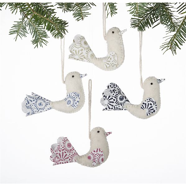 Set of 4 Felt Stitched Bird Ornaments