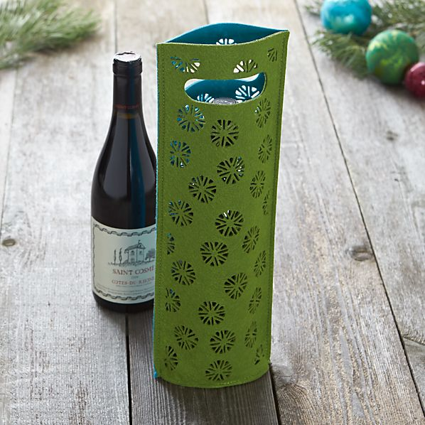 Felt Green and Turquoise Wine Bag