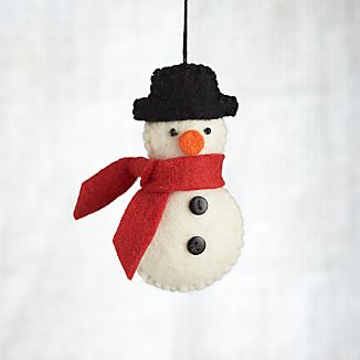 Felted Snowman with Buttons and Scarf Ornament