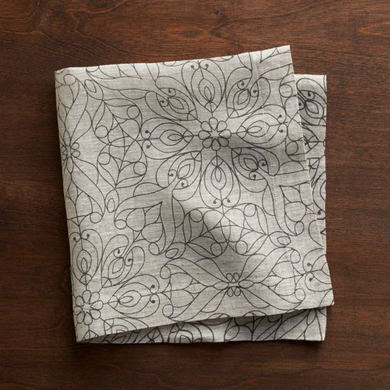 Easy elegance in pure linen. Hemmed napkin in natural linen is inscribed with a bold yet delicate filigree pattern in deep charcoal.<br /><br /><NEWTAG/><ul><li>100% linen</li><li>Do not bleach or dry clean</li><li>Machine wash cold, dry flat; warm iron as needed</li><li>Made in India</li></ul>