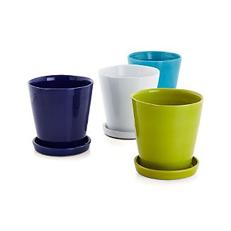 Pepper your patio with our zesty terra cotta planters decked out in festive brights. Pair with matching saucers or use our coordinating Wall Planter Hook (sold separately) to hang a rainbow of sunny color on exterior or sunroom walls.Glazed terra cottaDrainage holeFor indoor or outdoor useHand washProtect from freezing temperaturesMade in Portugal