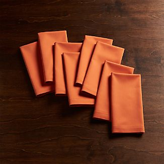 Set of 8 Fete Coral Orange Cloth Napkins