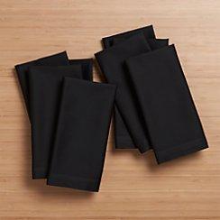 Set of 8 Fete Black Cotton Napkins