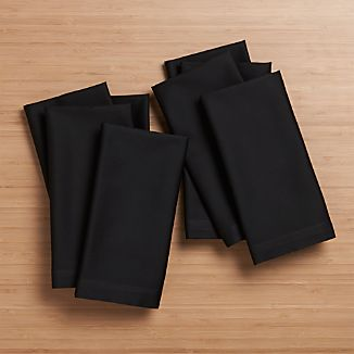 Set of 8 Fete Black Cotton Napkins