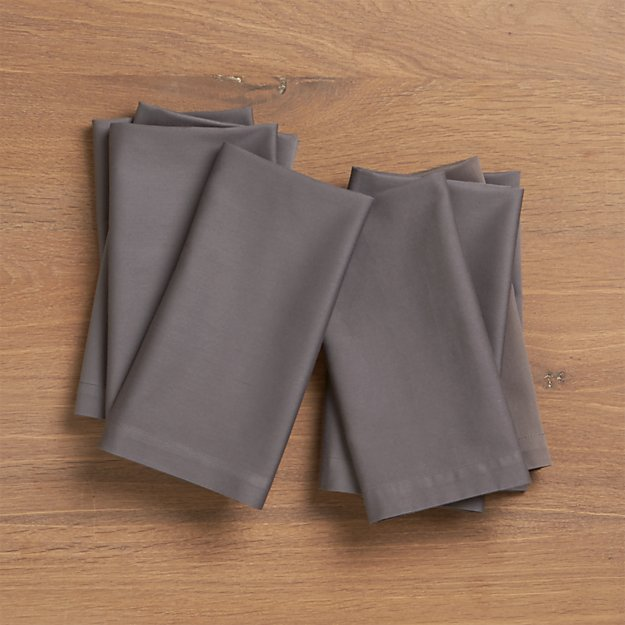 Set of 8 Fete Pewter Cotton Napkins