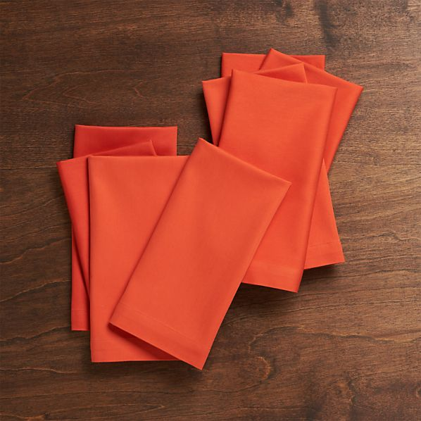 Set of 8 Fete Tangelo Cotton Napkins