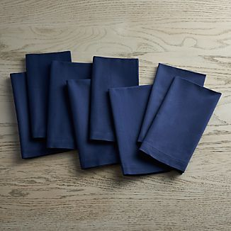 Set of 8 Fete Navy Blue Cloth Napkins