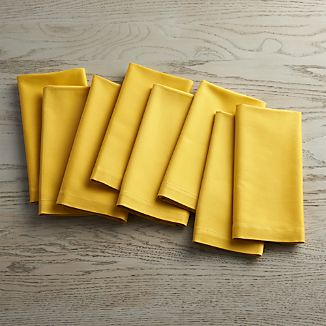 Set of 8 Fete Mustard Yellow Cloth Napkins