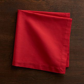 Set of 8 Fete Cherry Red Cloth Napkins