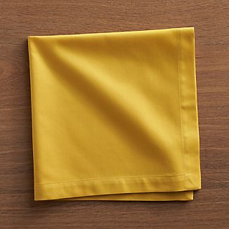 Set of 8 Fete Mustard Cotton Napkins