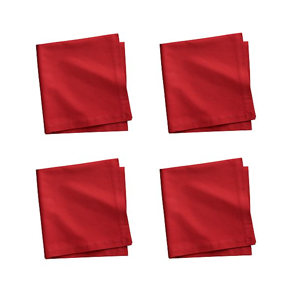 Set of 4 Fete Chili Cotton Napkins