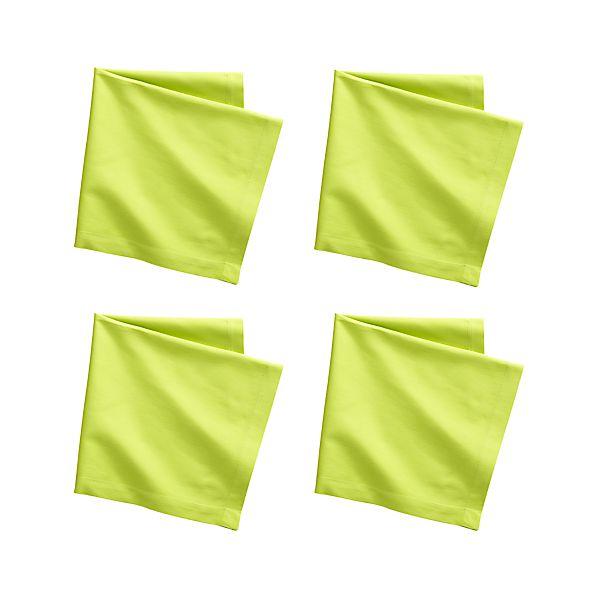 Set of 4 Fete Lime Cotton Napkins