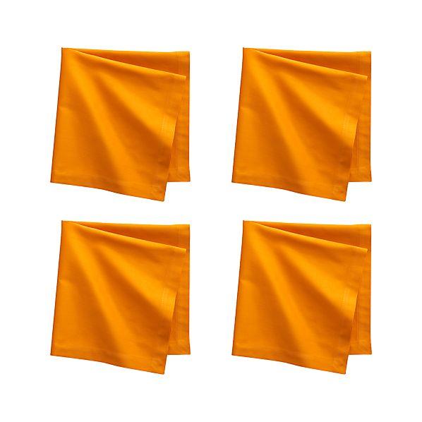Set of 4 Fete Tangerine Cotton Napkins