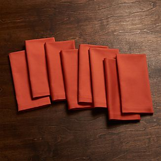 Fete Orange Cotton Dinner Napkins Set of Eight