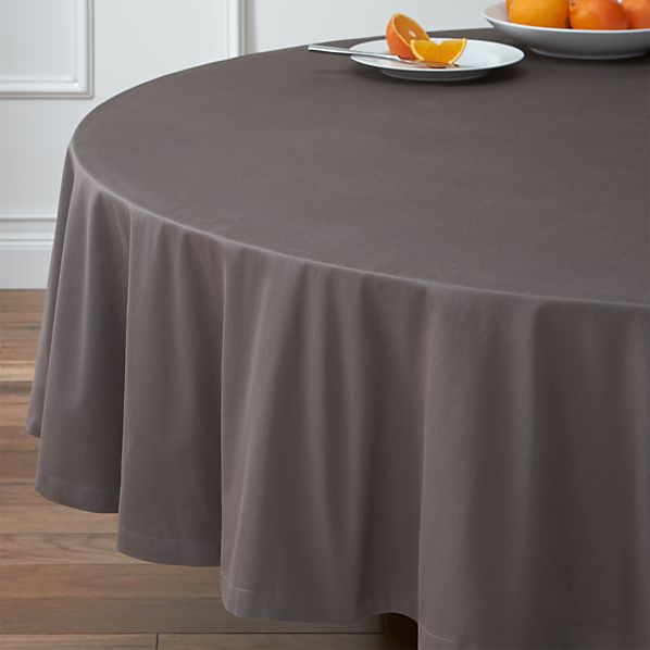 """Fete Pewter 90"""" Round Tablecloth"""