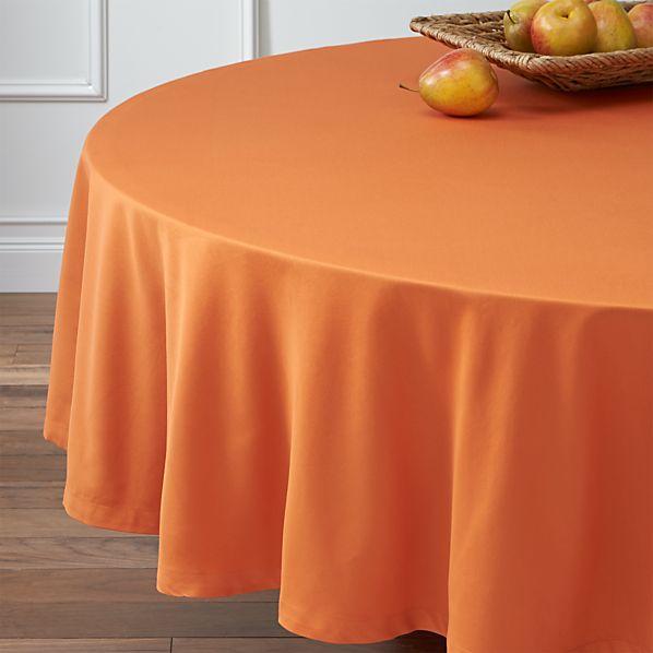 "Fete Pumpkin 90"" Round Tablecloth"