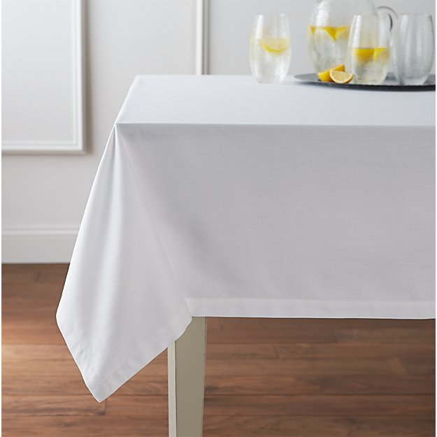 "Fete White 60""x144"" Tablecloth"