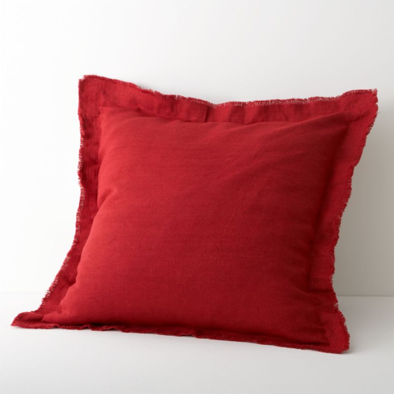 Fiery red lights up natural linen bedding with embroidered tonal bands and deep solid accents. Euro sham goes for drama in solid red with wide flange seams and raw-edge fringe. Inside flap closure. Bed pillows also available.<br /><br /><NEWTAG/><ul><li>100% linen</li><li>100% polyester embroidery</li><li>Machine wash, tumble dry low; iron damp</li></ul>