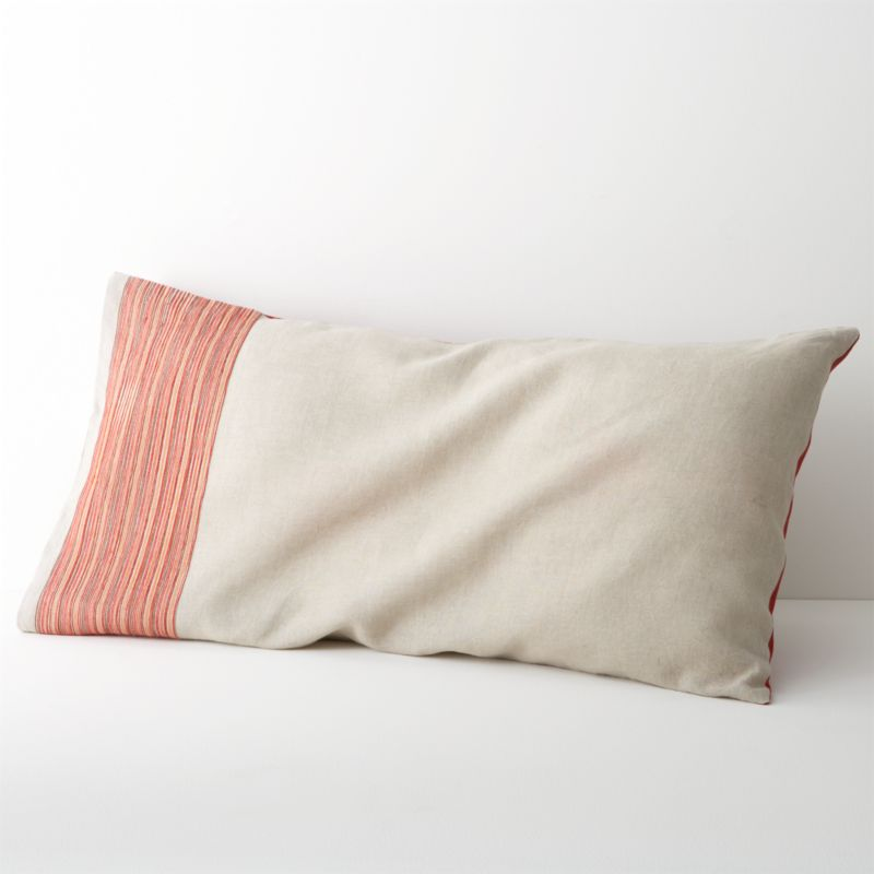 Fiery red lights up natural linen with embroidered tonal bands and deep solid accents. Off-center detailing lines shams in colorful stripes, reversing to solid red. Inside flap closure. Bed pillows also available.<br /><br /><NEWTAG/><ul><li>100% linen</li><li>100% polyester embroidery</li><li>Machine wash, tumble dry low; iron damp</li><li>Made in India</li></ul>