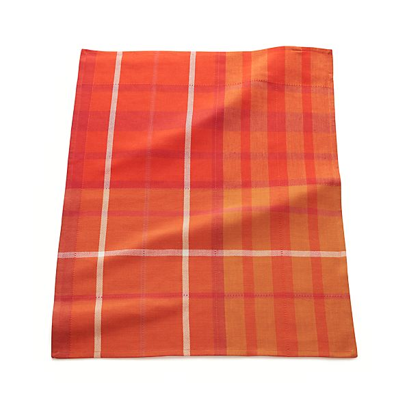 Fiery Red Plaid Dish Towel