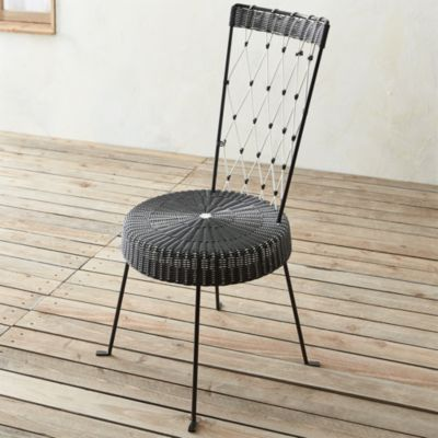 Fish High Back Harlequin Chair Black Seat White Back
