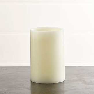 "Flameless Ivory 4""x6"" Pillar Candle with Timer"