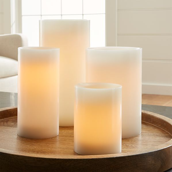 Flameless White Pillar Candles with Timer