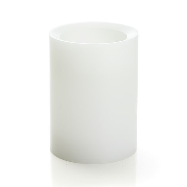 """Flameless White 3""""x4"""" Pillar Candle with Timer"""