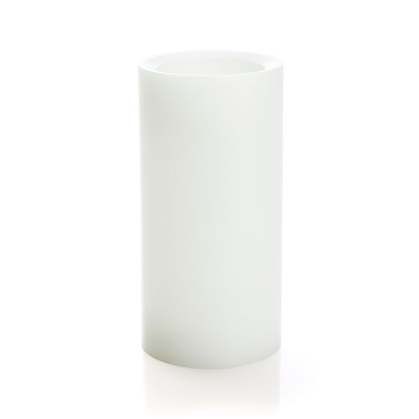 "Flameless White 3""x6"" Pillar Candle with Timer"