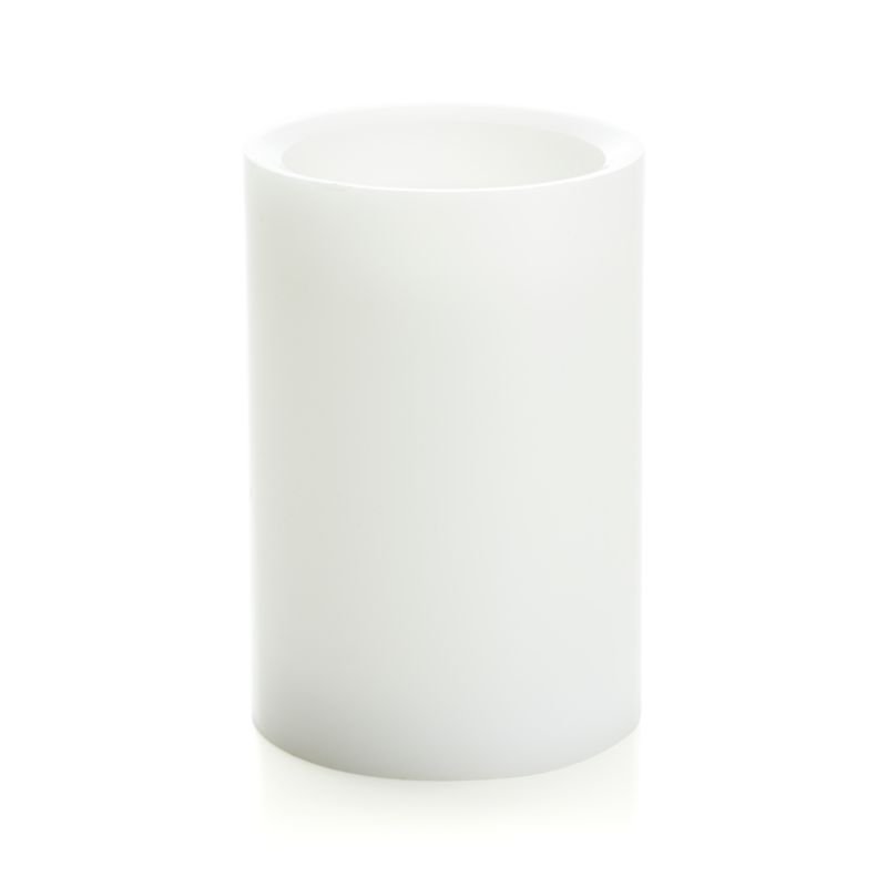 """Flameless White 4""""x6"""" Pillar Candle with Timer"""