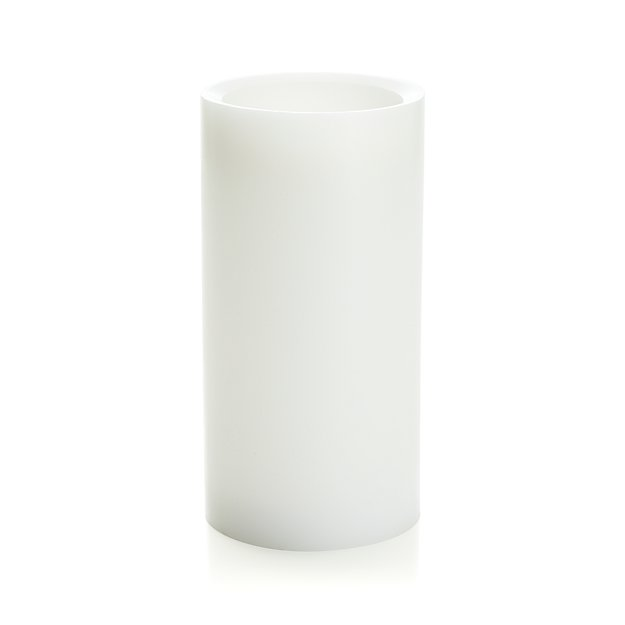 """Flameless White 4""""x8"""" Pillar Candle with Timer"""