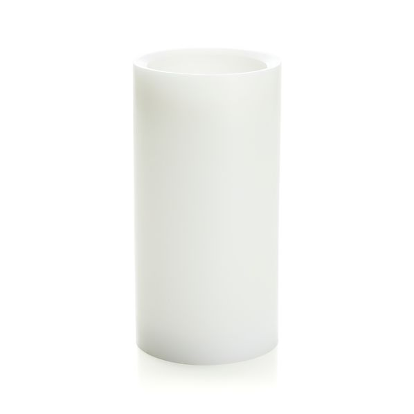 "Flameless White 4""x8"" Pillar Candle with Timer"