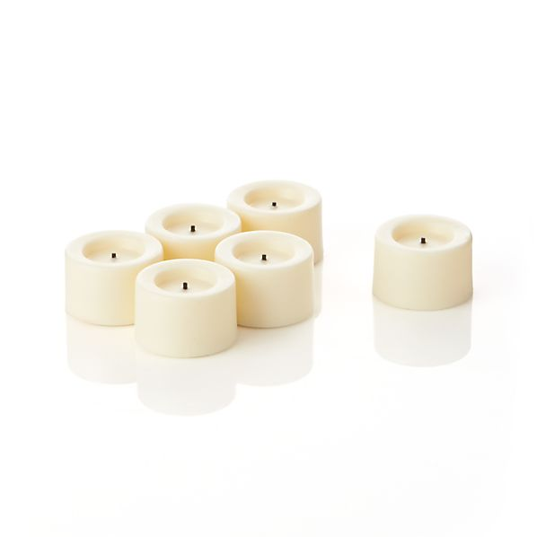 Set of 6 Flameless Ivory Tea Lights