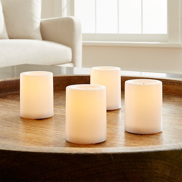 Set of 4 Flameless White Votive Candles with Timer