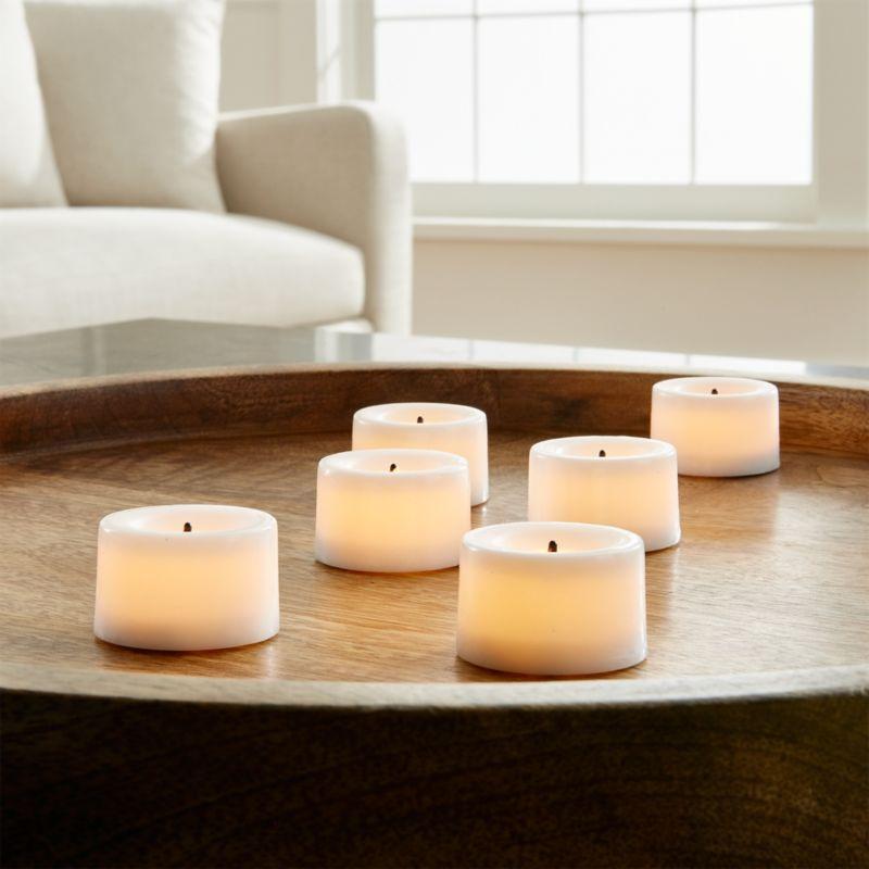 Set of 6 Flameless White Tea Lights