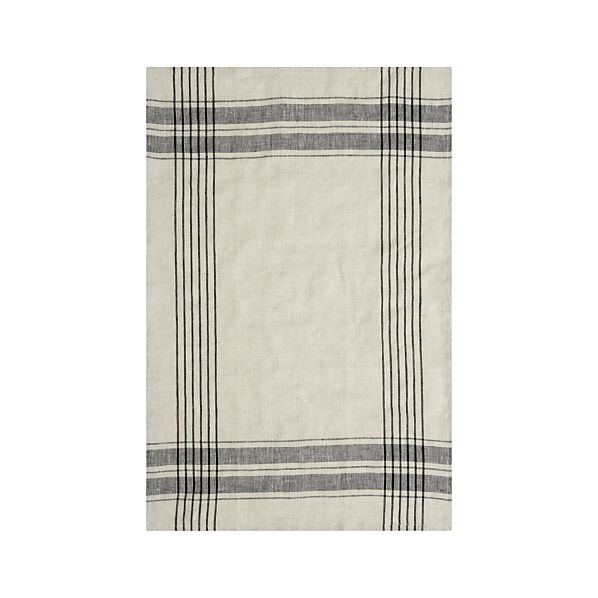 Flax Linen Black Stripe Towel