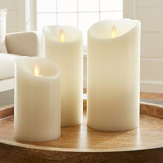 Flicker Flameless Ivory Pillar Candles