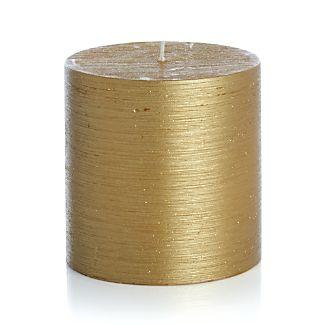 "Flicker Gold 4""x4"" Pillar Candle"