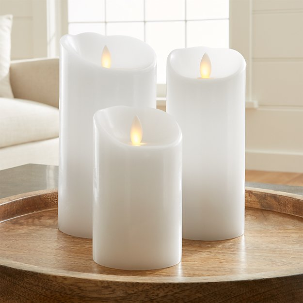 Flicker Flameless White Pillar Candles Crate And Barrel