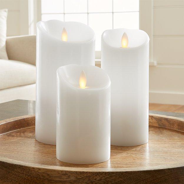 Flicker Flameless White Pillar Candles