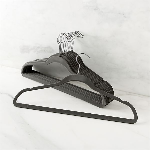 Set of 12 Flocked Grey Hangers