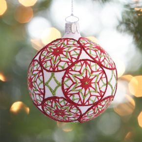 Flocked Snowflake Ball Ornament