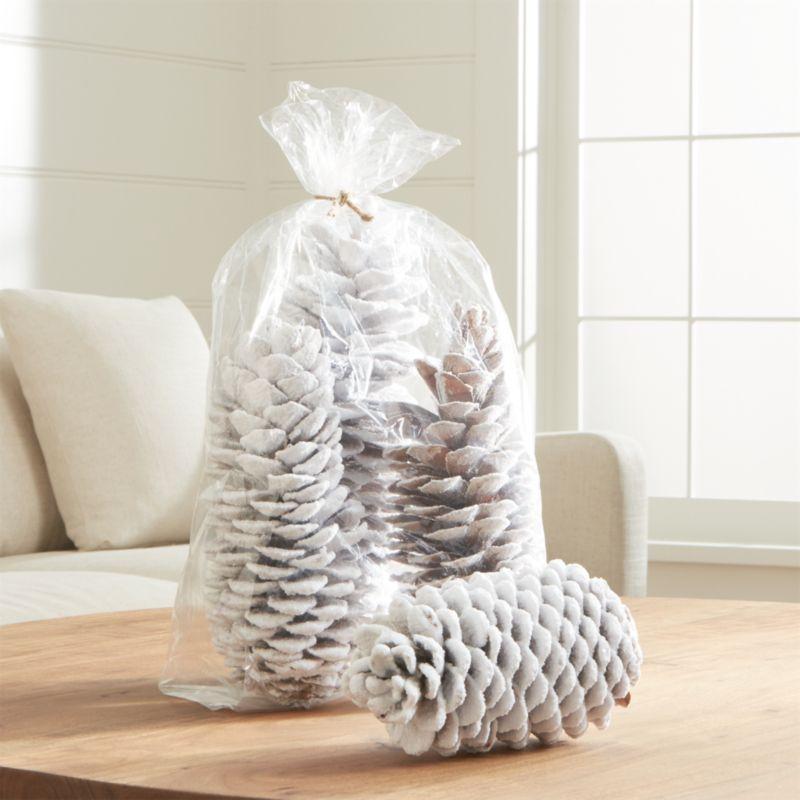 White Flocked Sugar Pine Cones Set of 3