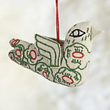 Floral Stitched Green Bird Ornament