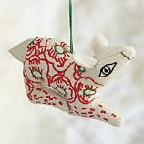 Floral Stitched Red Deer Ornament