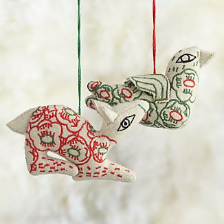 Floral Stitched Animal Ornaments