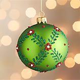 Floral Vine Ball Green Ornament
