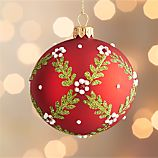 Floral Vine Ball Red Ornament