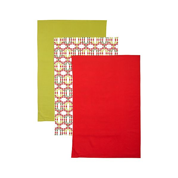 Set of 3 Flour Sack Holiday Dishtowels
